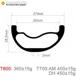 29er Carbon 37x18.5mm inner Width 30mm Tubeless Hookless Asymetric MTB Rim