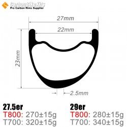 27.5er / 29er Carbon 27x23mm inner Width 22mm Tubeless Hookless Asymetric MTB Rim