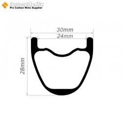 27.5er / 29er Carbon 30x28mm inner Width 24mm Tubeless Hookless MTB Rim