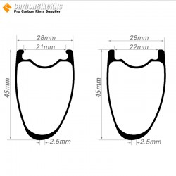700C 45x28mm  Asymetric Carbon Tubeless Hooked/Hookless Road Bike Rim