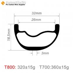 29er Carbon 32x18.5mm inner Width 26mm Tubeless Hookless Asymetric MTB Rim