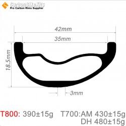 29er Carbon 42x18.5mm inner Width 35mm Tubeless Hookless Asymetric MTB Rim