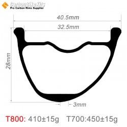 29er Carbon 40x28mm inner Width  32.5mm Tubeless Hookless Asymetric MTB Rim