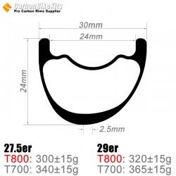 27.5er / 29er Carbon 30x24mm inner Width 24mm Tubeless Hookless Asymetric MTB Rim
