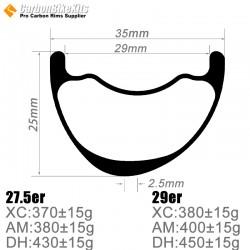27.5er / 29er Carbon 35x25mm inner Width 29mm Tubeless Hookless Asymetric MTB Rim