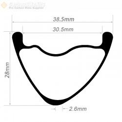 27.5er / 29er Carbon 38.5x28mm inner Width 30.5mm Tubeless Hookless Asymetric MTB Rim