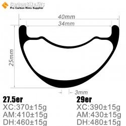 27.5er / 29er Carbon 40x25mm inner Width 34mm Tubeless Hookless Asymetric MTB Rim