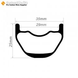 26er / 27.5er / 29er Carbon 35x25mm inner Width 29mm Tubeless Hookless MTB Rim