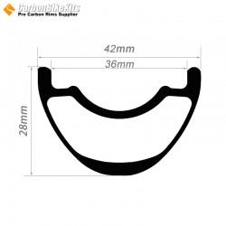 27.5er / 29er Carbon 42x28mm inner Width 36mm Tubeless Hookless Symetric MTB Rim