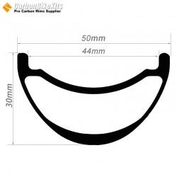 27.5er / 29er Carbon 50x30mm inner Width 44mm Tubeless Hookless Symetric MTB Rim AM/DH