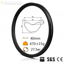 27.5er Carbon 40x30mm inner Width 35mm Tubeless Hookless Symetric MTB Rim XC/AM