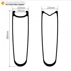 700C 88x23mm Clincher / Tubular Road Bike Rims