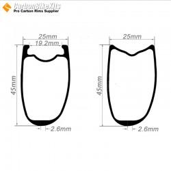 700C 45x25mm Asymetric Tubeless / Tubular Road Bike Rim