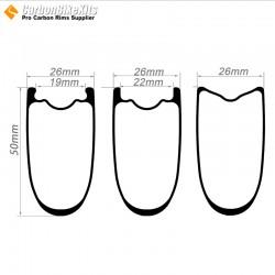 700C 50x26mm  Tubeless  Hookless / Tubular Road Bike Rim