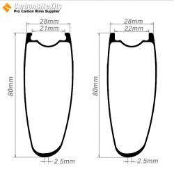 700C 80x28mm  Asymetric Carbon Tubeless Hooked/Hookless Road Bike Rim