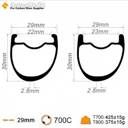 700C 30x29mm Asymetric Carbon Tubeless Hooked /Hookless Gravel / CX Rim