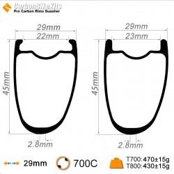 700C 45x29mm Asymetric Carbon Tubeless Hooked /Hookless Gravel / CX Rim