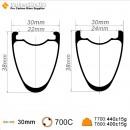 700C 38x30mm Carbon Tubeless Hooked /Hookless Gravel / CX Rim