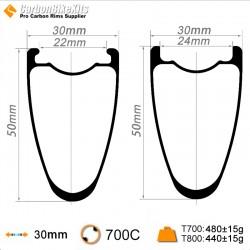 700C 50x30mm Carbon Tubeless Hooked /Hookless Gravel / CX Rim