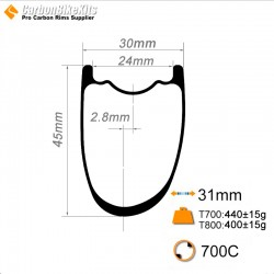 700C 45x30mm Asymetric Carbon Tubeless Hookless Gravel / CX Rim