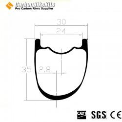 700C/650B 35x30mm  Asymetric  Carbon Tubeless Gravel / CX Rim