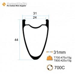 700C 44x31mm  Carbon Tubeless Gravel / CX Rim