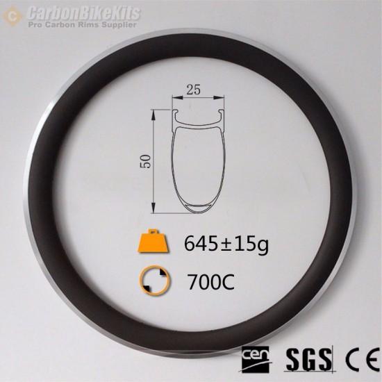 700C 50x25mm Clincher Alloy Brake Surface Carbon Road Bike Rim