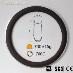 700C 60x23mm Clincher Alloy Brake Surface Carbon Road Bike Rim