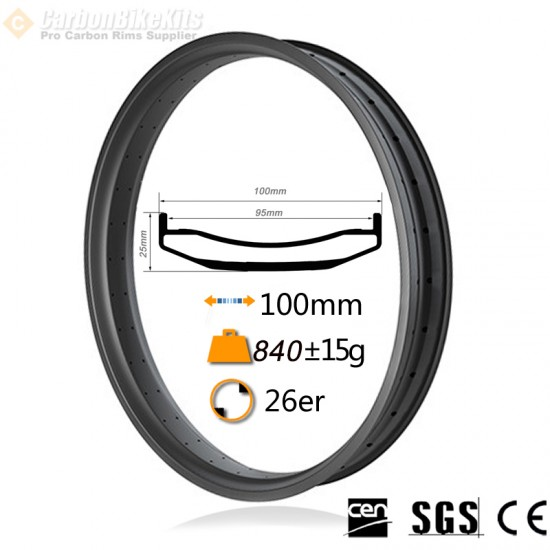 26er 100mm width Carbon Fat Bike Rim