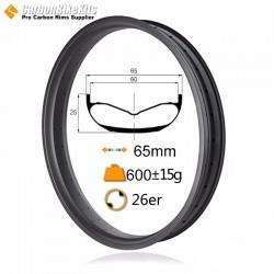 26er 65mm width Carbon Fat Bike Rim
