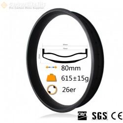 26er 80mm width Carbon Fat Bike Rim