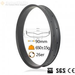 26er 90mm width Carbon Fat Bike Rim